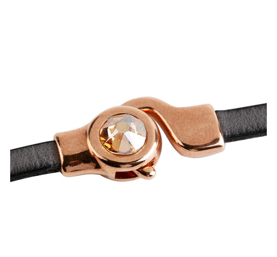 Hakenverschluss mit Flatback 7mm Crystal Golden Shadow (ID 5x2) rose gold