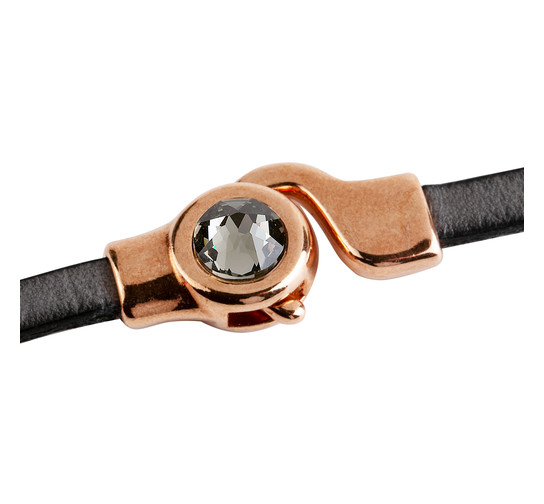 Hakenverschluss mit Flatback 7mm Black Diamond (ID 5x2) rose gold