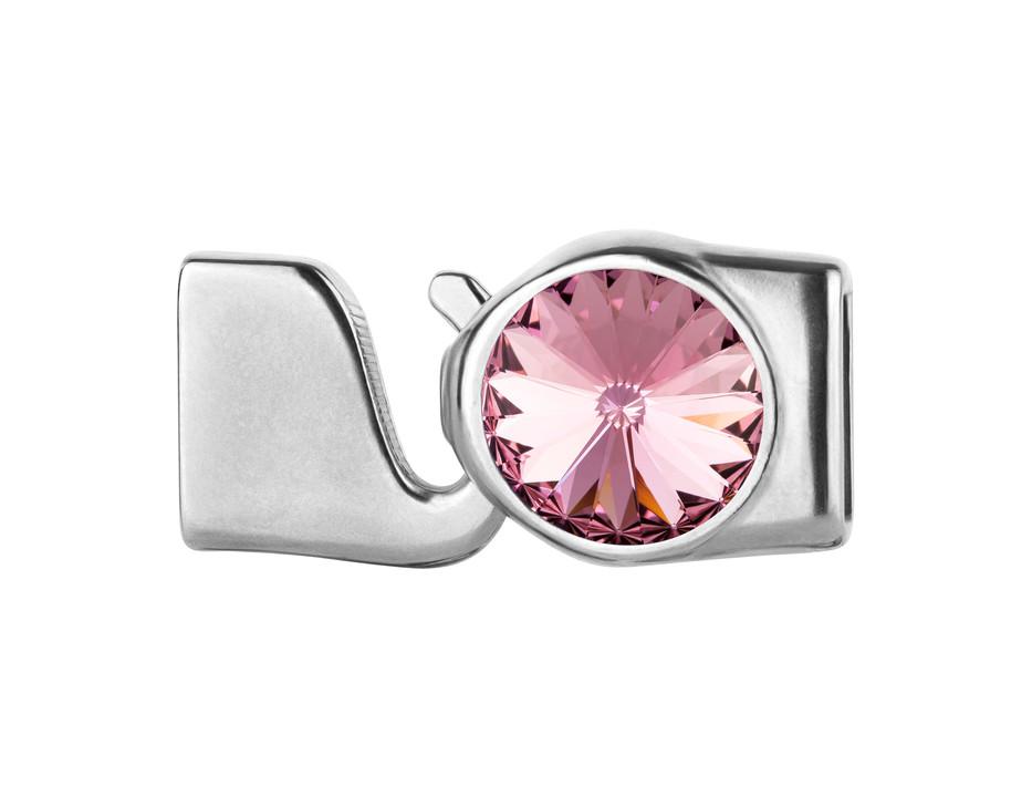 ID 10x2 antik silber Leder Bänder Hakenverschluss Rivoli light rose 12mm