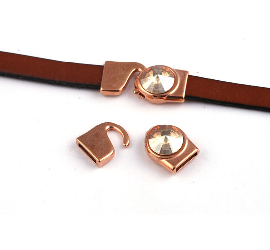 Hakenverschluss mit Rivoli 12mm Crystal Golden Shadow (ID 10x2) rose gold