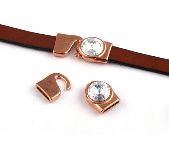 Hakenverschluss mit Rivoli 12mm Crystal White Patina (ID 10x2) rose gold