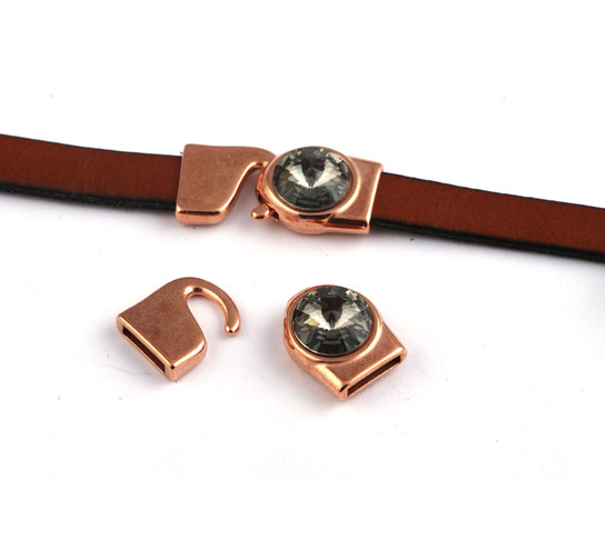Hakenverschluss mit Rivoli 12mm Black Diamond (ID 10x2) rose gold