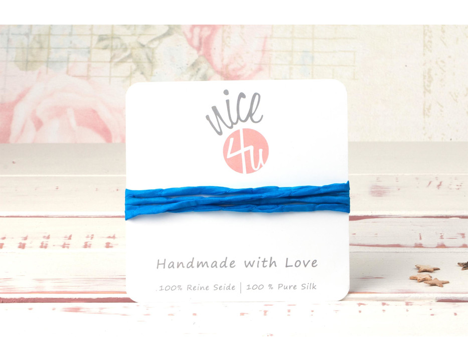 1m handgefärbtes Habotai-Seidenband Himmelblau 3mm Seidenschnur 100/% Seide