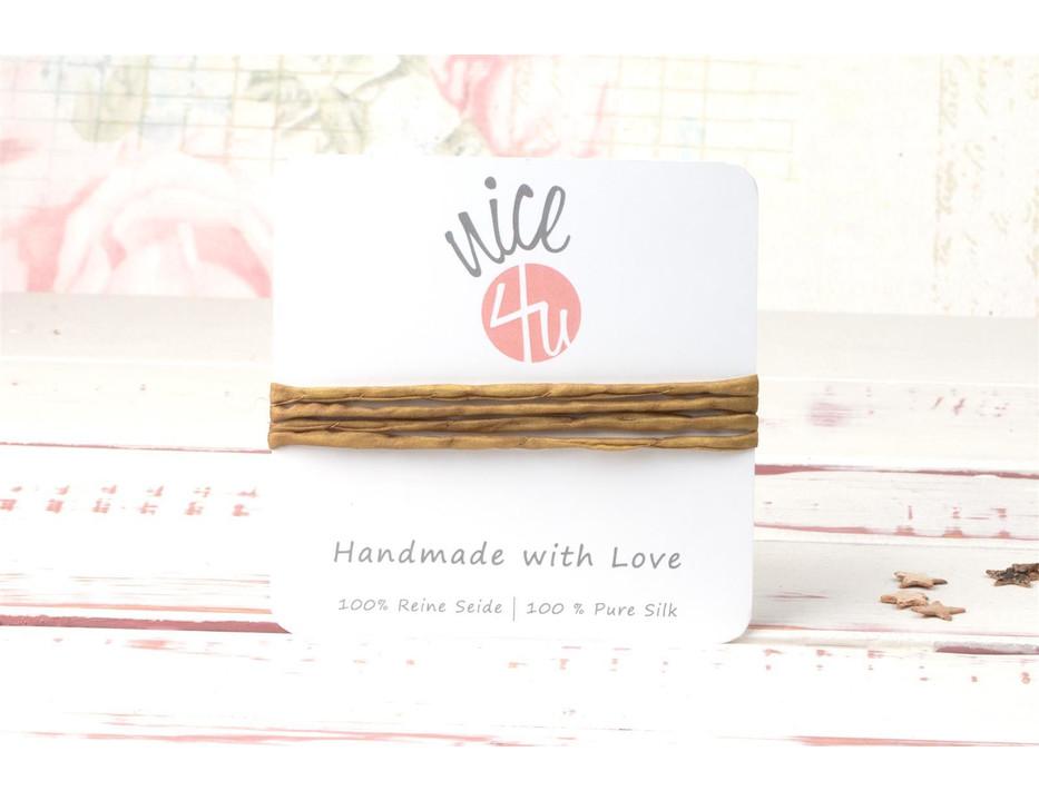 1m handgefärbtes Habotai-Seidenband Olivgelb 3mm Seidenschnur 100/% Seide