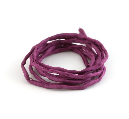 1m handgefärbtes Habotai-Seidenband Magenta 3mm Seidenschnur 100/% Seide