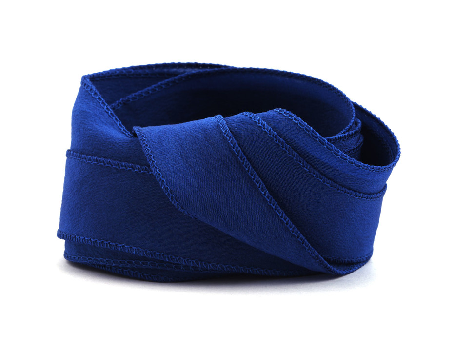 Crêpe de Chine Seidenband Royalblau handgenäht handgefärbt