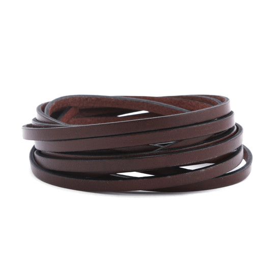 Flat leather strap Cocoa Brown (black edge) 5x2mm