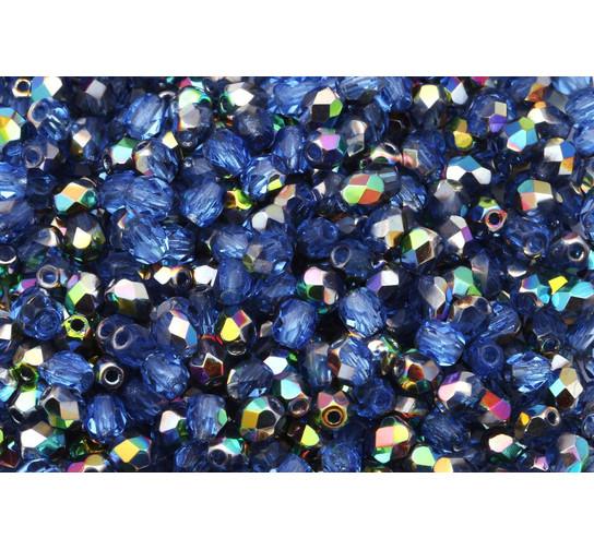 Feuerpolierte Glasschliffperlen Iris Blue 4mm Glasperlen Facettiert