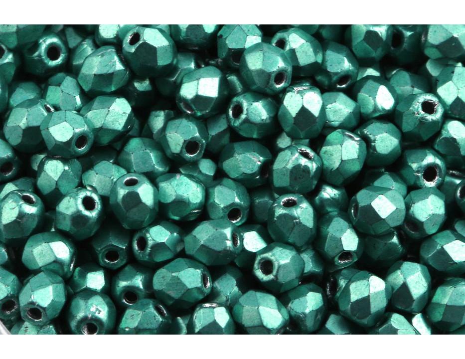 Feuerpolierte Glasschliffperlen Metallic Suede Blue 3mm Glasperlen Facettiert