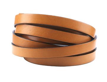 Flaches Lederband Vintage Beige schwarzer Rand 10x2mm Hochwertiges Rindleder