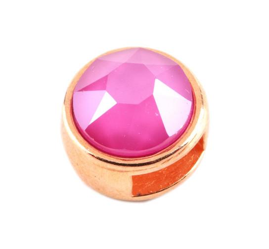 Schiebeperle mit Flatback indian pink rose gold Leder /& Bänder ID 5x2mm