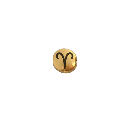 Metal bead Aries gold 7.6mm (Ø 1.1mm) gold plated