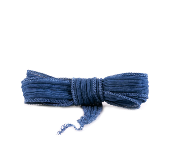 Handmade silk ribbon Crinkle Crêpe Gentian Blue 20mm wide