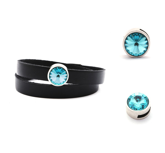 Slider mit Rivoli Light Turquoise 12mm (ID 10x2mm) antik silber
