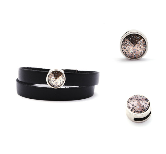 Slider mit Rivoli Crystal Rose Patina 12mm (ID 10x2mm) antik silber