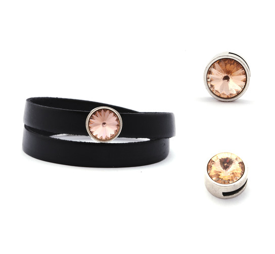 Slider mit Rivoli Light Peach 12mm (ID 10x2mm) antik silber