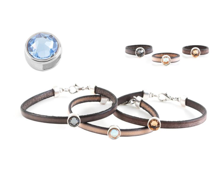 Schiebeperle mit Flatback light sapphire antik silber Leder /& Bänder ID 5x2mm