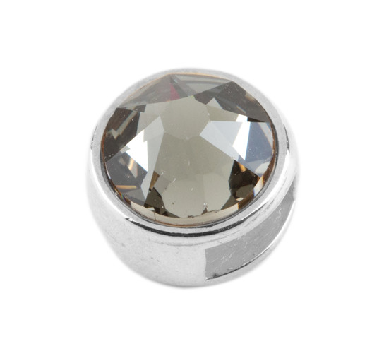 Slider mit Flatback Black Diamond 7mm (ID 5x2mm) antik silber