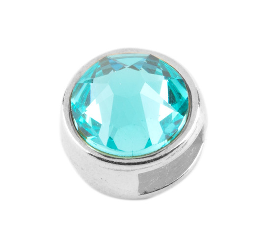 Slider mit Flatback Light Turquoise 7mm (ID 5x2mm) antik silber