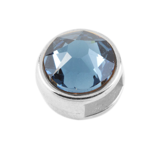 Slider mit Flatback Denim Blue 7mm (ID 5x2mm) antik silber