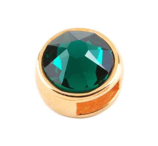 Slider mit Flatback Emerald 7mm (ID 5x2mm) gold