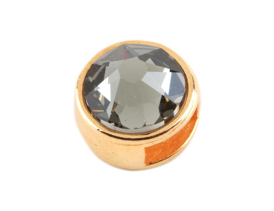 ID 5x2mm rose gold Leder /& Bänder Schiebeperle mit Flatback black diamond