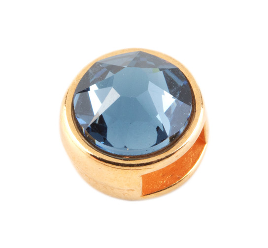 Slider mit Flatback Denim Blue 7mm (ID 5x2mm) gold