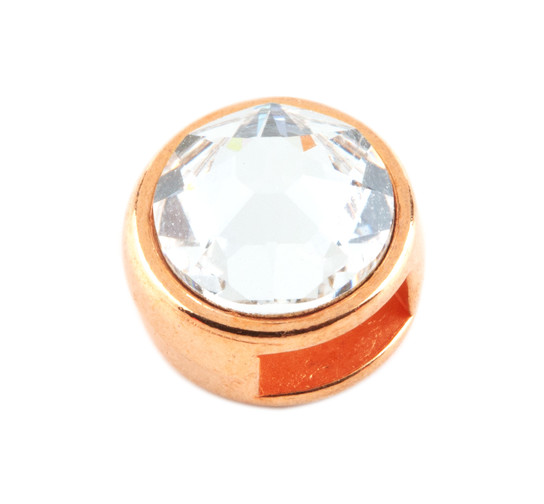 Slider mit Flatback crystal (ID 5x2mm) rose gold