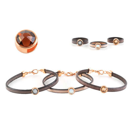 Slider mit Flatback Smoked Topaz 7mm (ID 5x2mm) rose gold
