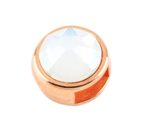Slider mit Flatback White Opal 7mm (ID 5x2mm) rose gold