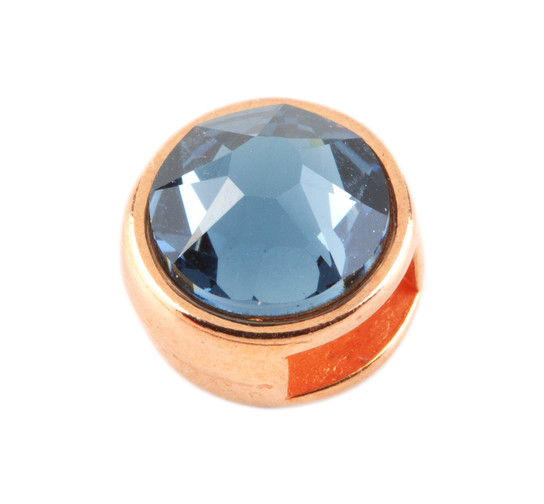 Slider mit Flatback Denim Blue 7mm (ID 5x2mm) rose gold