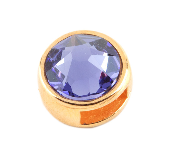 Slider mit Flatback Tanzanite 7mm (ID 5x2mm) gold
