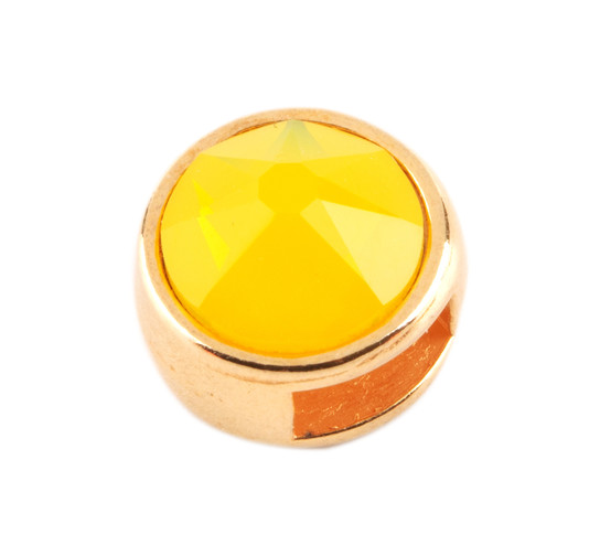 Slider mit Flatback Yellow Opal 7mm (ID 5x2mm) gold