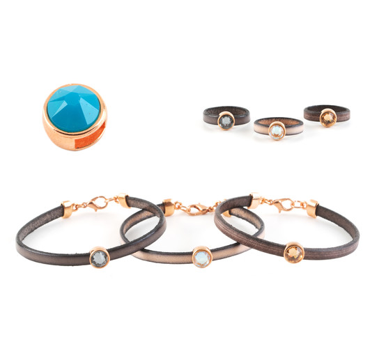 Slider mit Flatback Caribean Blue Opal 7mm (ID 5x2mm) rose gold