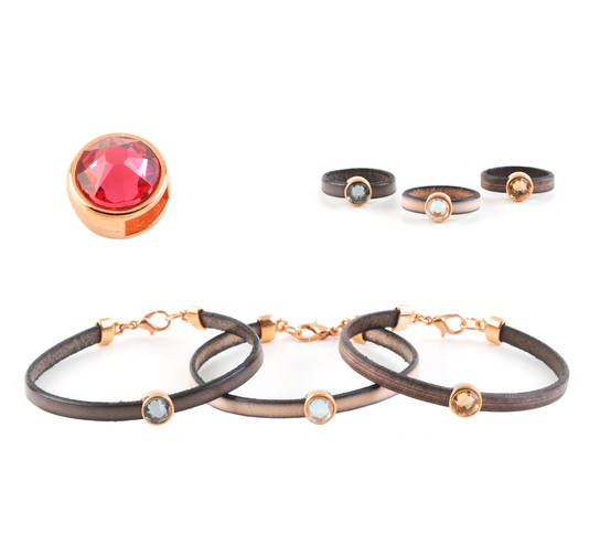 Slider mit Flatback Indian Pink 7mm (ID 5x2mm) rose gold