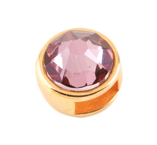 Slider mit Flatback Crystal Antique Pink (ID 5x2mm) gold