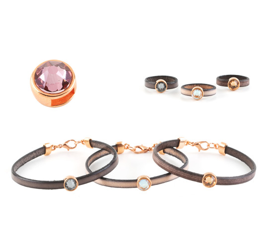 Slider mit Flatback Crystal Antique Pink (ID 5x2mm) rose gold