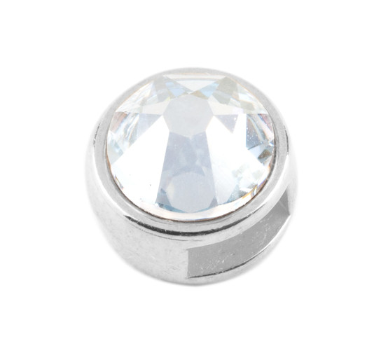 Slider mit Flatback Crystal Blue Shade 7mm (ID 5x2mm) antik silber