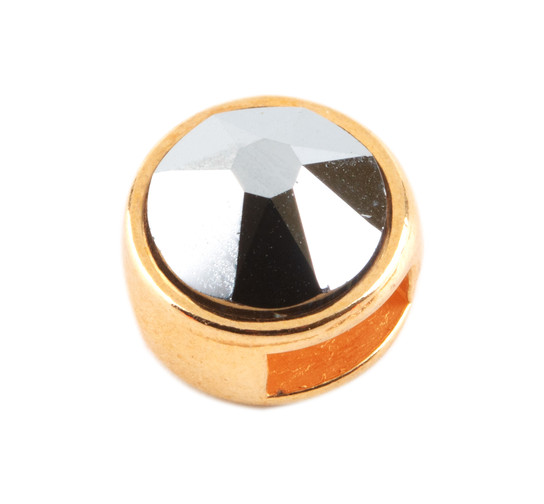 Slider mit Flatback Crystal Light Chrome 7mm (ID 5x2mm) gold