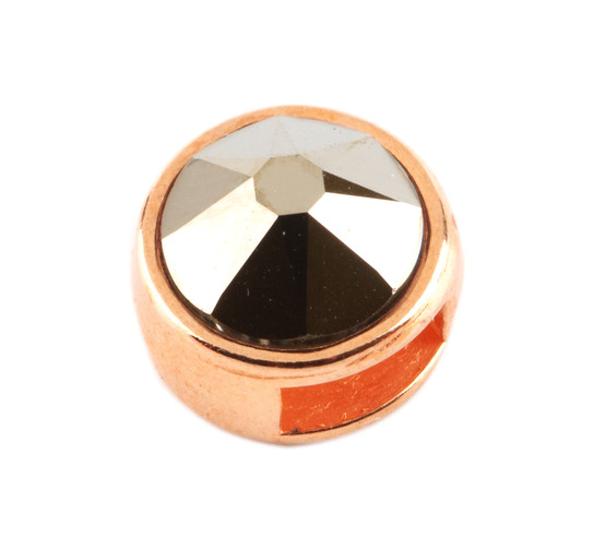 Slider mit Flatback Crystal Metallic Light Gold 7mm (ID 5x2mm) rose gold