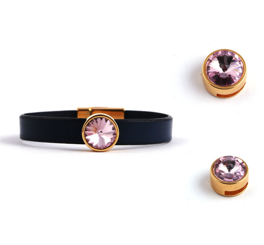 Slider mit Rivoli Light Amethyst 12mm (ID 10x2mm) gold
