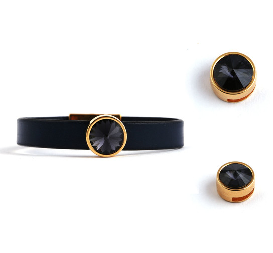 Slider mit Rivoli Graphite 12mm (ID 10x2mm) gold