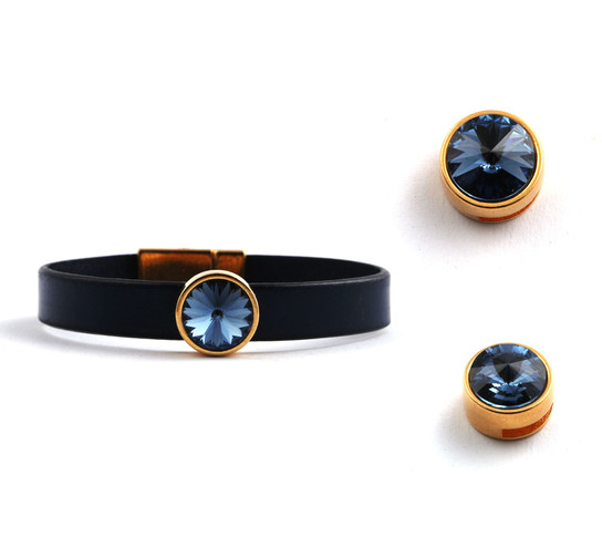 Slider mit Rivoli Denim Blue 12mm (ID 10x2mm) gold