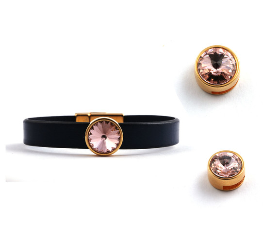 Slider mit Rivoli Vintage Rose 12mm (ID 10x2mm) gold
